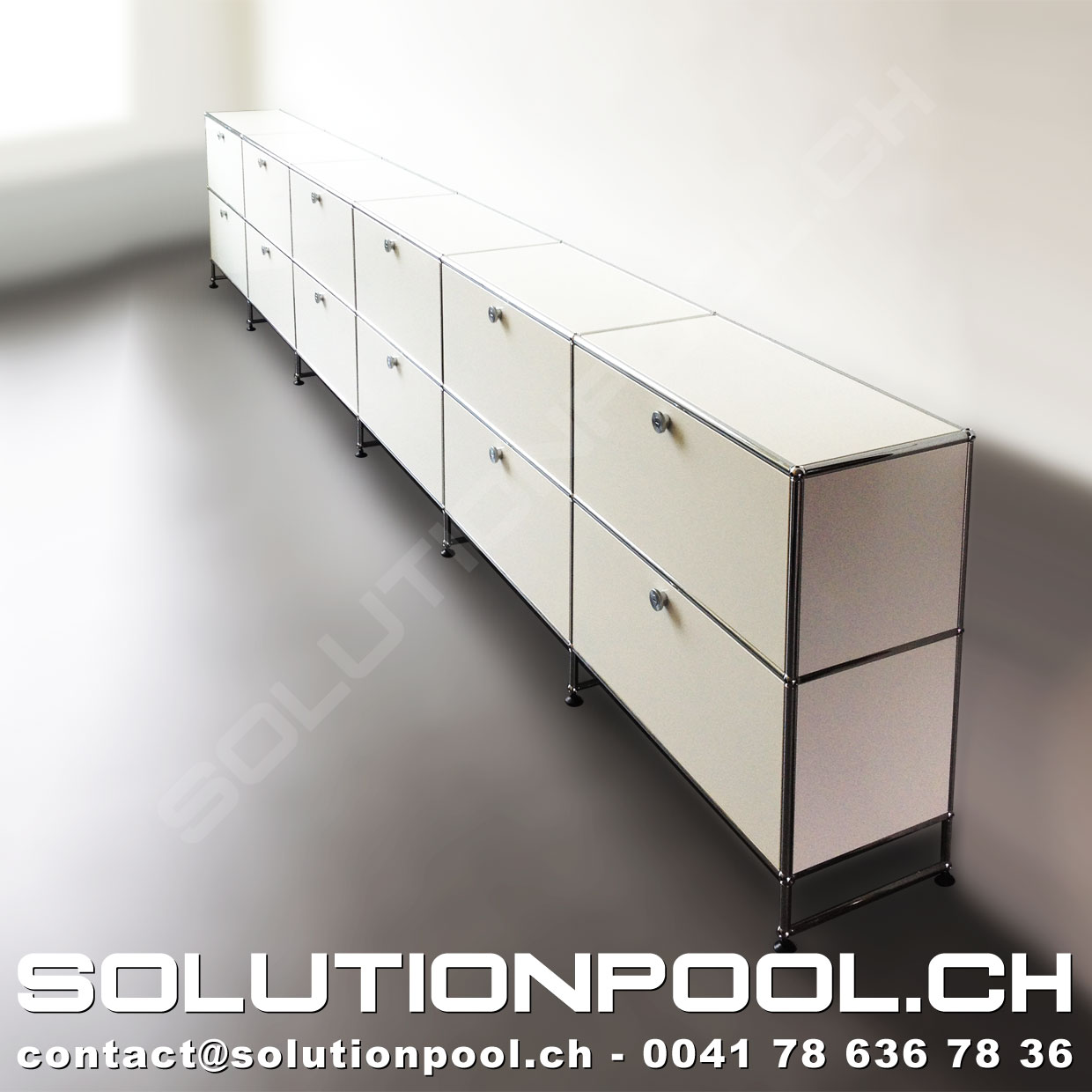 usm sideboard weiss 6 klappe 6 auszug solutionpool first class second hand for home and office. Black Bedroom Furniture Sets. Home Design Ideas