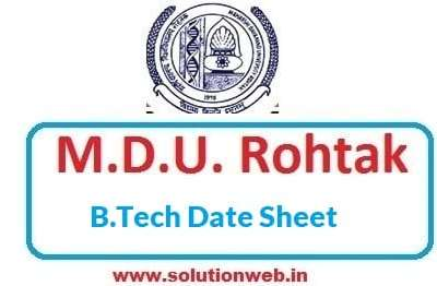 MDU b.tech date Sheet