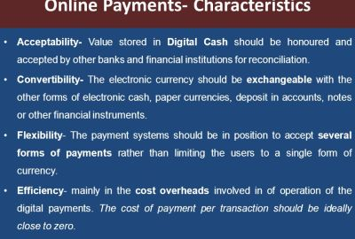 characteristics of electronic payment system