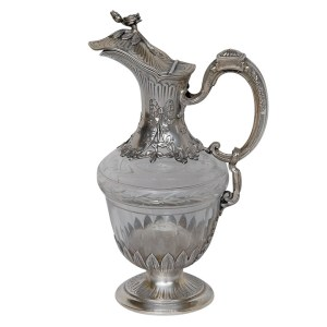 Sterling and Crystal Claret Jug by Olier & Caron