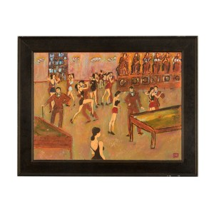 Oil on Board Dance Hall Signed by Artist