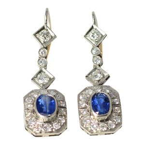 Platinum Art Deco 1.84 CTW Sapphire Earrings with Diamonds