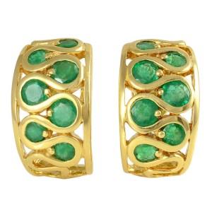 18K Yellow Gold Emerald Half Hoop Earrings