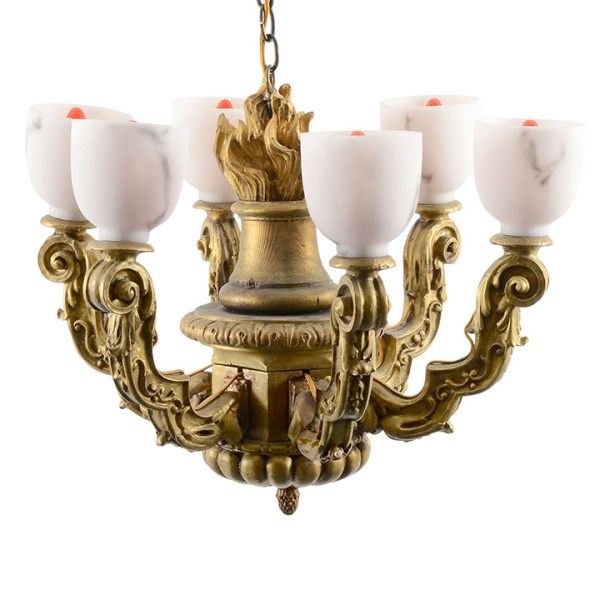 Italian Art Nouveau Gilt Wood Chandelier