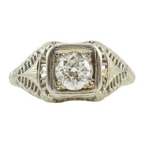 18 Karat White Gold 0.80 Carat Diamond Ring