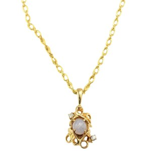 5.20 Carat Star Sapphire and Diamond Pendant and Chain