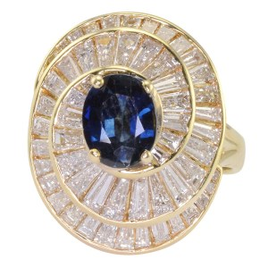 0.96 Carat Sapphire and 2.70 CTW Diamond Ring