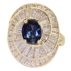 0.96 Carat Sapphire and 2.70 CTW Diamond Ring