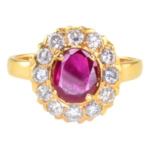 0.61 Carat Oval Ruby & Diamond Ring