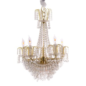 Five Light Faux Crystal Chandelier