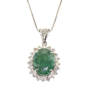 5.74 Carat Oval Emerald Diamond Pendant