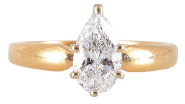 D Color VVS1 Clarity Pear Solitaire Diamond Ring