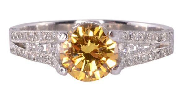 GIA Certified Natural Fancy Deep Orange Yellow Center Diamond Ring
