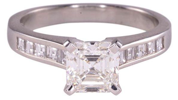 1.52 Carat VS1 Asscher Cut Center Diamond Platinum Engagement Ring