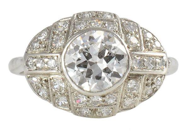 1.0 Carat VS2 Old European Cut Center Diamond Art Deco Platinum Ring