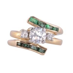 emerald bypass diamond wedding set