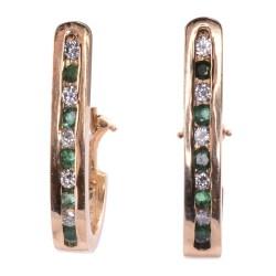 Emerald & Diamond Demi Hoop Earrings