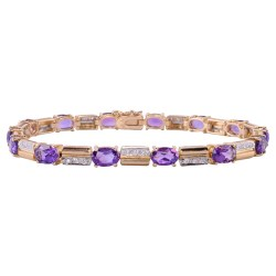 Oval Amethyst & Diamond Bracelet