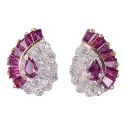 Ruby Diamond Teardrop Earrings