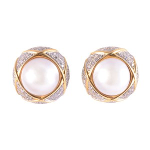 mabe pearl & diamond clip earrings