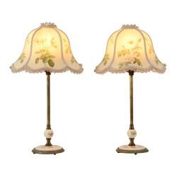 Pair Porcelain Boudoir Lamps