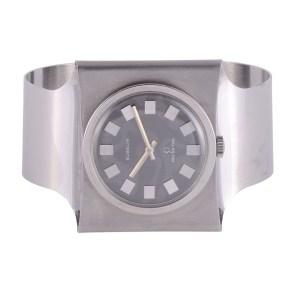 stainless steel cuff wrist watch