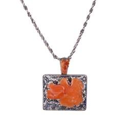 Silver Carnelian Enamel Pendant on Chain