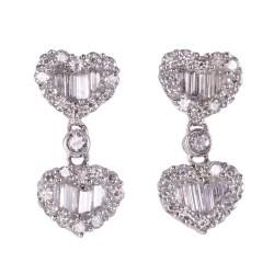 Diamond Heart Motif Earrings