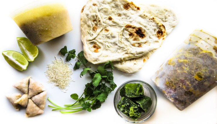 Ingredients for Indian Meal from the Freezer