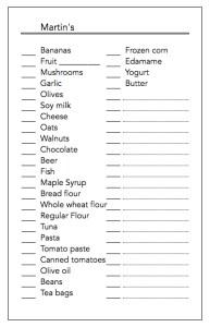 Example grocery list spreadsheet