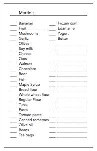 A grocery list spreadsheet