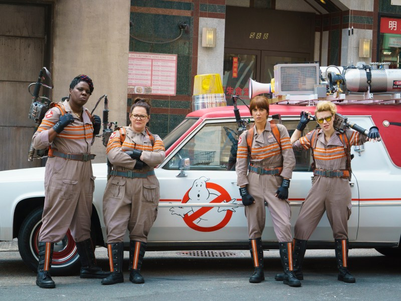 Patty Tolan (Leslie Jones), Abby Yates (Melissa McCarthy), Erin Gilbert (Kristen Wiig) and Jillian Holtzmann (Kate McKinnon) in Columbia Pictures' Ghostbusters.