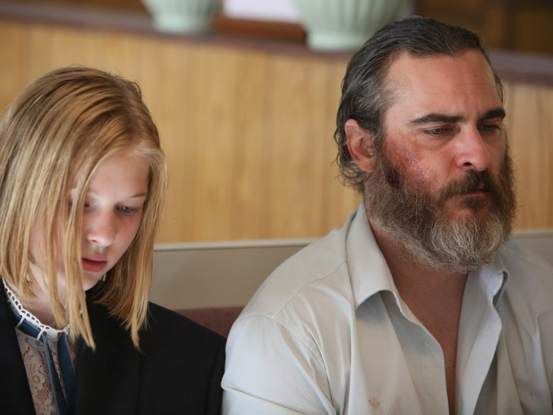 Ekaterina Samsonov and Joaquin Phoenix in Lynne Ramsay's YOU WERE NEVER REALLY HERE, an Amazon Studios release.
