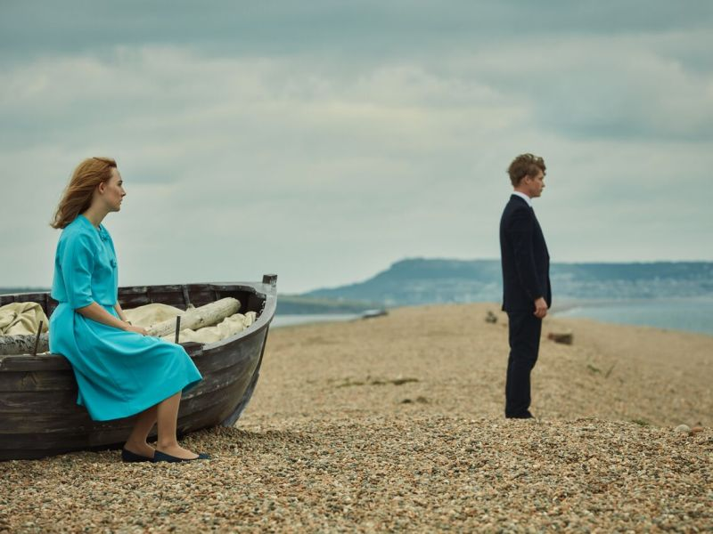 Saoirse Ronan stars as Florence Ponting and Billy Howle stars as Edward Mayhew in ON CHESIL BEACH, a Bleecker Street release.