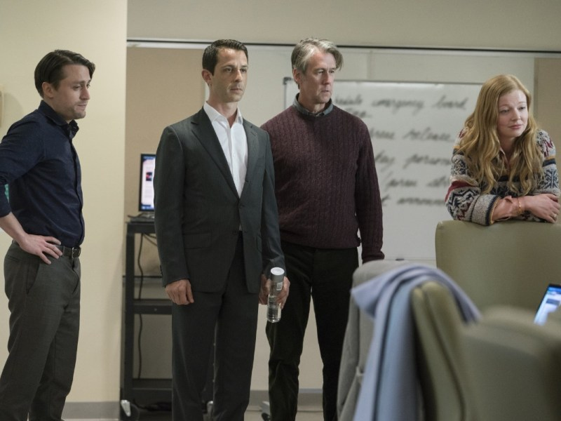 Kieran Culkin, Jeremy Strong, Alan Ruck, and Sarah Snook in an episode of Succession.