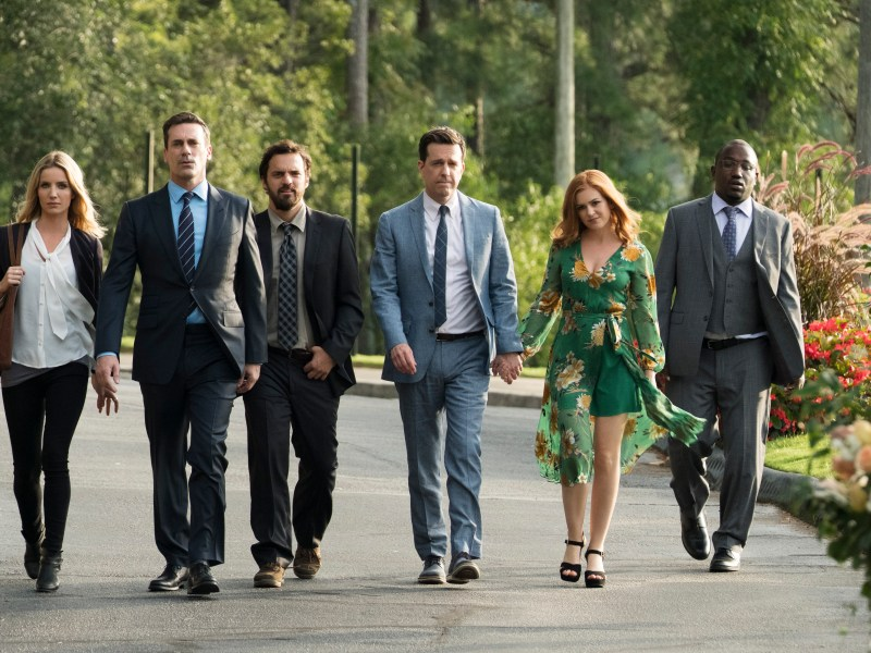 "ANNABELLE WALLIS as Rebecca Crosby, JON HAMM as Bob Callahan, JAKE JOHNSON as Randy ""Chilli"" Cilliano, ED HELMS as Hogan ""Hoagie"" Malloy, ISLA FISHER as Anna Malloy and HANNIBAL BURESS as Kevin Sable in New Line Cinema's comedy ""TAG,"" a Warner Bros. Pictures release."