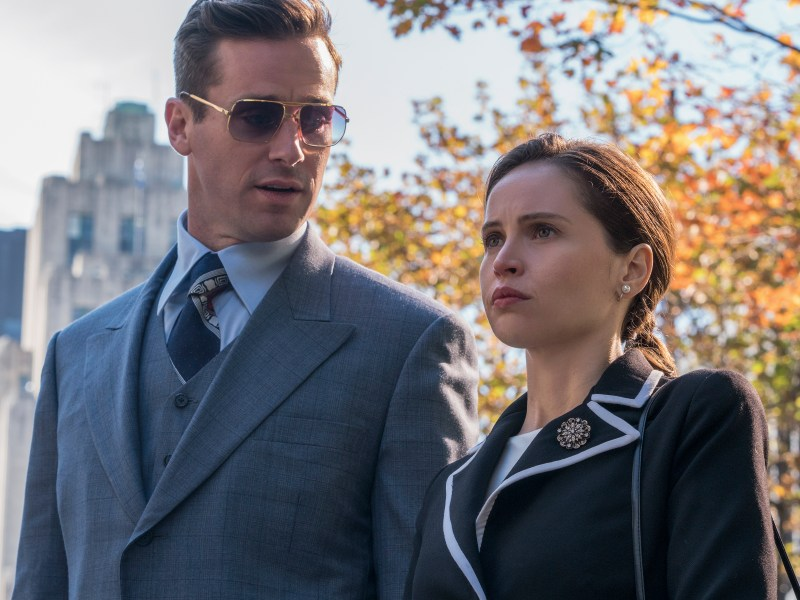 Armie Hammer as Marty Ginsburg and Felicity Jones as Ruth Bader Ginsburg star in Mimi Leder's ON THE BASIS OF SEX, a Focus Features release.