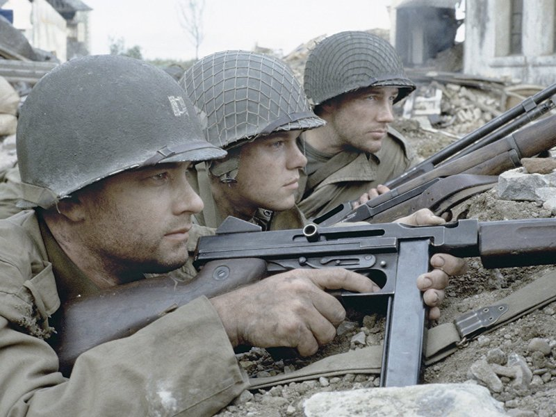 Tom Hanks, Matt Damon, and Edward Burns in Saving Private Ryan.