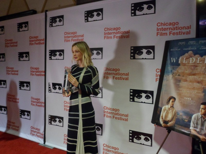 Carey Mulligan is presented with the Artistic Achievement Award at the 54th Chicago International Film Festival.