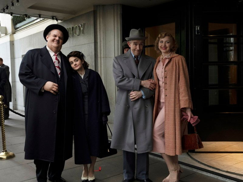 John C. Reilly as Oliver Hardy, Shirley Henderson as Lucille Hardy, Steve Coogan as Stan Laurel, and Nina Arianda as Ida Laurel in Stan and Ollie.