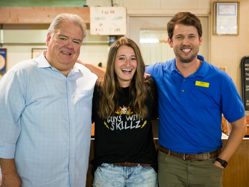 Jim O'Heir, Kendall Goldberg, and Jon Heder.