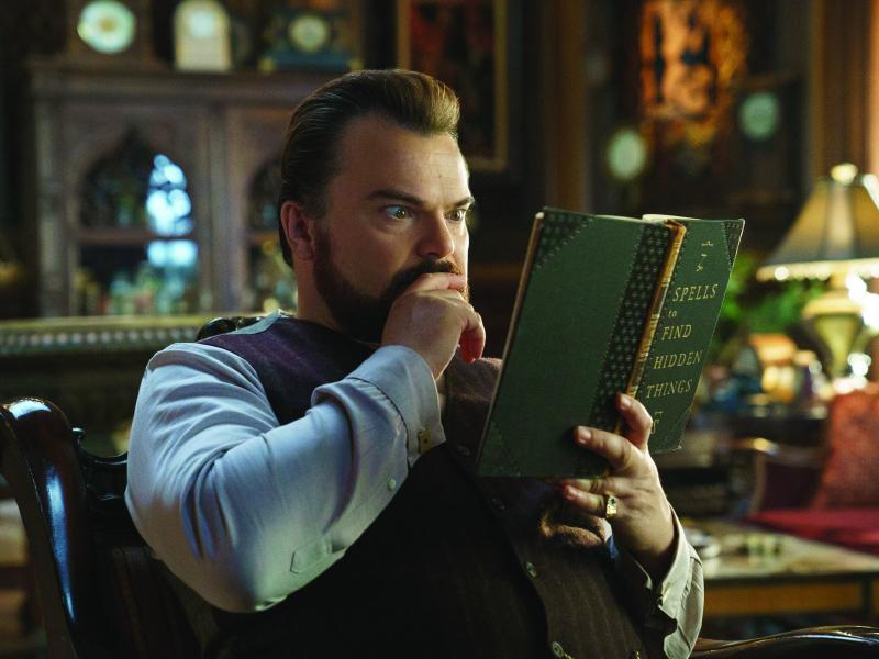 Jack Black plays Uncle Jonathan, a warlock desperate to prevent the return of a dark force, in The House With a Clock in Its Walls.