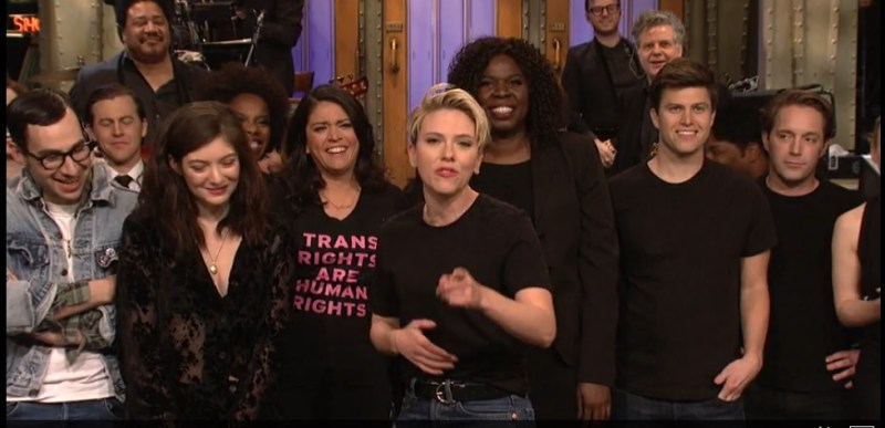 "Cecily Strong wears a ""Trans Rights are Human Rights"" shirt during the Saturday Night Live goodnights when Scarlett Johansson hosted SNL on March 11, 2017."