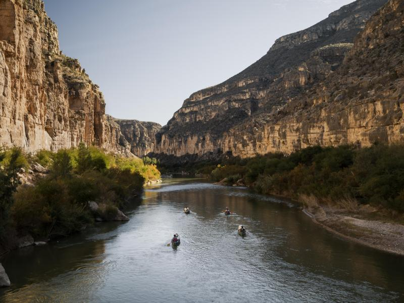 The team paddles down the Rio Grande as it cuts its way between Mexico and Texas in The River and the Wall.