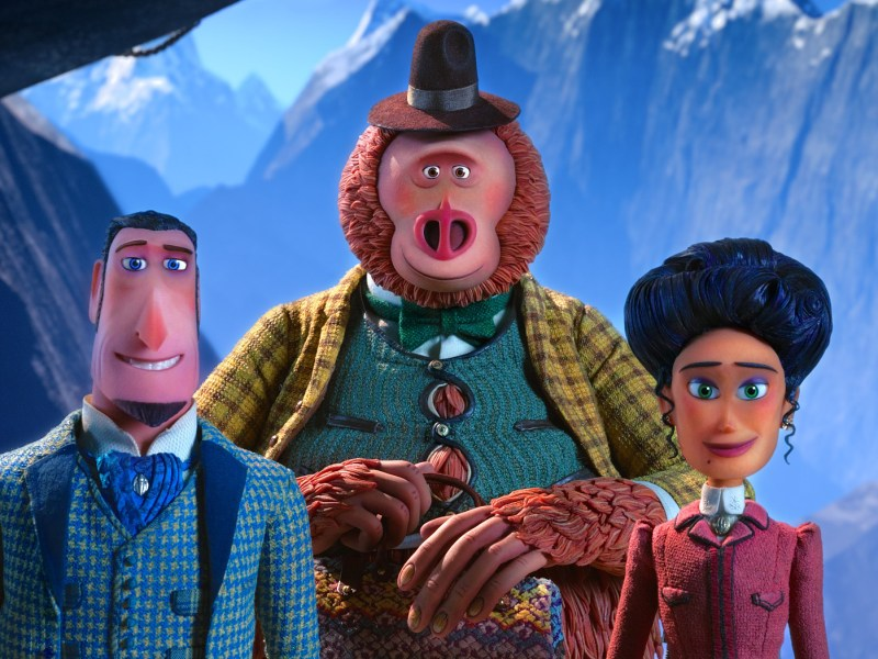 Sir Lionel Frost voiced by Hugh Jackman, Mr. Link voiced by Zach Galifianakis and Adelina Fortnight voiced by Zoe Saldana in director Chris Butler's MISSING LINK, a Laika Studios Production and Annapurna Pictures release.