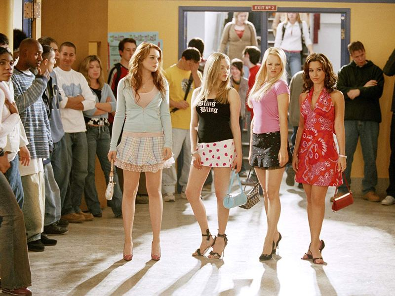 Lindsay Lohan, Amanda Seyfried, Rachel McAdams, and Lacey Chabert in Mean Girls.