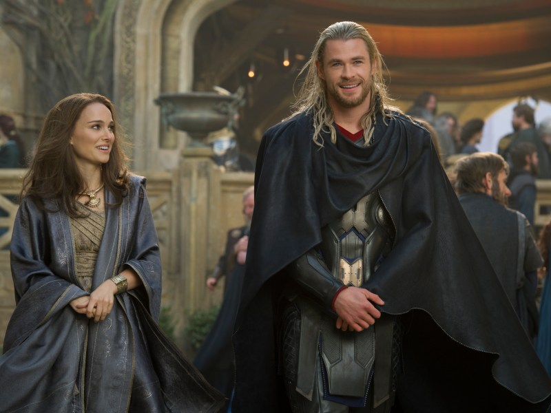 Jane Foster (Natalie Portman) and Thor (Chris Hemsworth) in Thor: The Dark World.