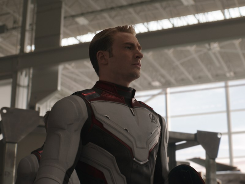 L to R: Nebula (Karen Gillan) and Captain America/Steve Rogers (Chris Evans) in Marvel Studios' Avengers: Endgame.