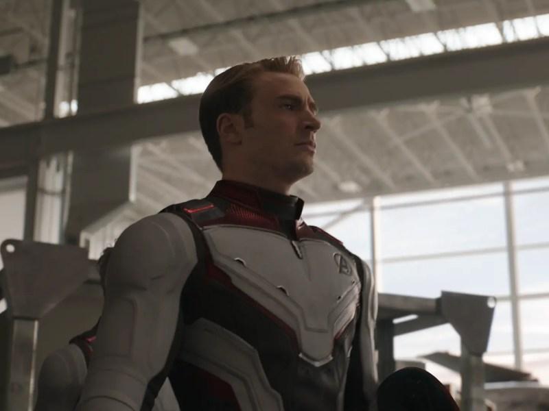 L to R: Nebula (Karen Gillan) and Captain America/Steve Rogers (Chris Evans) in Marvel Studios' Avengers: Endgame.