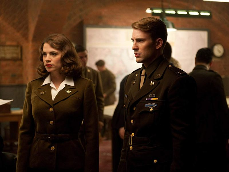 Peggy Carter (Hayley Atwell) and Steve Rogers (Chris Evans) in Captain America: The First Avenger.